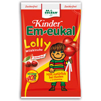 EM EUKAL Kinder Lolly Wildkirsche zuckerfrei - 80g